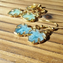 Monstera luminous blue pierced earrings (free shipping)
