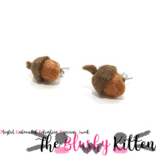 Acorns Fall Thanksgiving Stud Earrings - Felt Miniature Jewellery Limited Edition by The Blushy Kitten {READY TO SHIP}