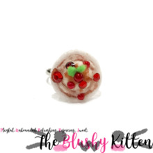 Cherries Jubilee Adjustable Ring - Felt Miniature Jewelries Limited Edition by The Blushy Kitten {READY TO SHIP}