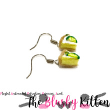Key Lime Pie Dangle Earrings - Felt Miniature Jewelries Limited Edition by The Blushy Kitten {READY TO SHIP}