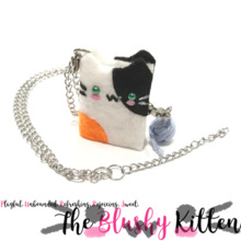 Calico Kitten Mini Journal Zipper Charm Necklace - Felt Miniature Accessories Limited Edition by The Blushy Kitten {READY TO SHIP}