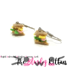 Ham and Cheese Sandwich Dangle Earrings - Felt Miniature Jewelries Limited Edition by The Blushy Kitten {READY TO SHIP}