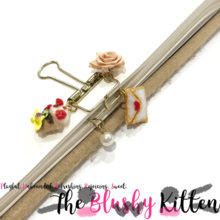 Crepes, Rose, Pearl & Love Letter Planner Clip - Felt Kawaii Cute Miniature Accessories Limited Edition by The Blushy Kitten {READY TO SHIP}