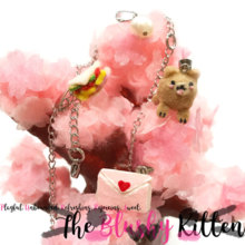 Pomeranian, Love Letter & Sandwich Charm Necklace - Felt Kawaii Cute Miniature Jewellery Limited Edition by The Blushy Kitten {READY TO SHIP}