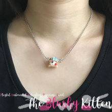 Ice Cream Sandwich with Blue Bow Charm Necklace - Felt Kawaii Cute Miniature Jewellery Limited Edition by The Blushy Kitten {READY TO SHIP}
