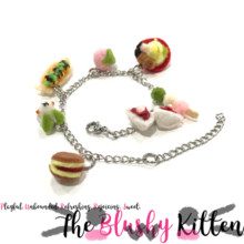 Japanese Food Charm Bracelet - Felt Kawaii Cute Miniature Accessories Limited Edition by The Blushy Kitten {READY TO SHIP}