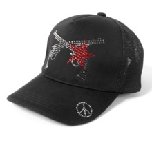roar K's clothing bespoke '' STAR PISTOL '' SWAROVSKI CRYSTAL KNIT DENIM MESH CAP