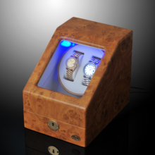 LUHW wooden single turn automatic mechanical watch winder LED light function shaker LU20001
