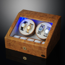 LUHW wooden double turn automatic mechanical watch winder LED light function shaker LU30004