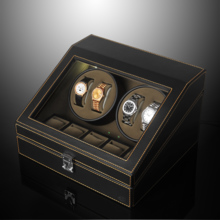 SPI leather double turn automatic mechanical watch winder LED light function shaker SP43014