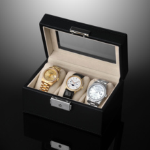 Leather window 3 compartment with lock watch storage box watch collection box SE63519