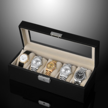 Leather window 5 grid with lock watch storage box watch collection box SE63520