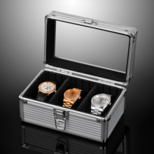 Es'prima open window with lock 3 grid aluminum alloy watch storage box name table collection box SE54013AL