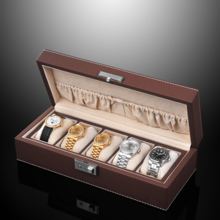 SPI leather with lock 5 grid watch storage box name table collection box SP80048