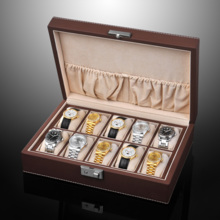 SPI leather with lock 10 grid watch storage box name table collection box SP80049