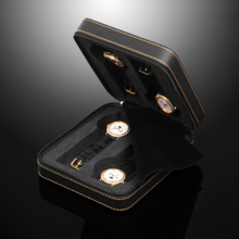 SPI leather zipper 4 watch storage box name table collection box SP80014