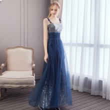 Banquet evening dress long bridesmaid dress sexy blue chiffon dress