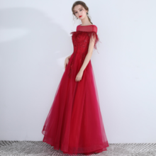 One-shouldered European and American dress red sexy long dress temperament banquet evening dress long dress
