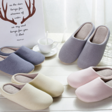 Japanese-style Korean version of the indoor soft bottom non-slip silent floor home shoes men and women couple cotton slippers