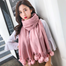 Rabbit hair ball scarf female winter Japanese small fresh cashmere scarf warm gift solid color scarf 0089