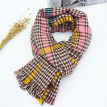 Imitation cashmere scarf European and American style wild thick warm shawl dual-use thousand bird color strip scarf