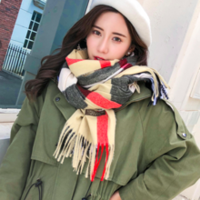 Imitation cashmere scarf Korean version of the long warm shawl British plaid shawl collar 246