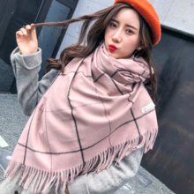 v plaid imitation cashmere scarf female Japanese girl sweet scarf simple warm shawl scarf