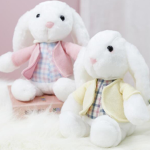 Factory direct lop rabbit doll soft cute white rabbit cardigan plush toy rabbit doll activity gift