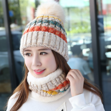Xin Baoguan autumn and winter warm hat ladies striped wool hat scarf cap Korean version of the parent-child children's knit hat