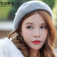 Xin Baoguan new wool solid color beret Korean version of the tide Sen hat ladies autumn and winter woolen 蓓 帽 hat
