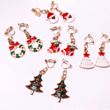 Christmas Gift Earrings Boots Santa Claus Christmas Tree Earrings