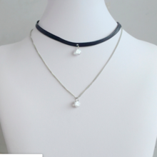 Double zircon necklace chain collar ladies short necklace