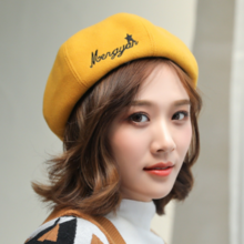 New letter embroidery beret autumn and winter new fashion England wild painter hat wool bud hat