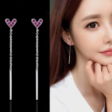 S925 sterling silver needle love tassel earrings female heart-shaped zircon earrings shaking sound with the same girl heart earrings small jewelry
