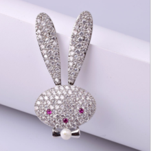 Korean version of the exquisite Miffy rabbit brooch micro-inlaid zircon small cute rabbit brooch clothing pin accessories