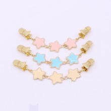 Korean fashion ladies lucky star double-sided clothing chain three-color wild series card holder sweater clip