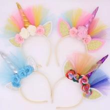 Boule de fête pour enfants avec bandeau de licorne Halloween Accessoires pour cheveux Sangle pour cheveux