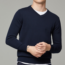 Autumn new men's V-neck pullover sweater basic casual youth solid color thin sweater wholesale 2015