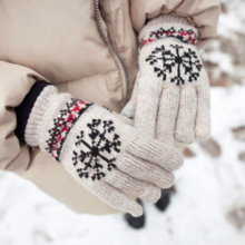 Korean version of the wool gloves snowflake knit double warm thick men and women couple gloves DM103