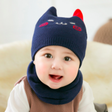 Baby Kitten Bib Cover Cap Autumn Winter Newborn Baby Warm Knitted Woolen Hat Cotton Beanie Hat Set