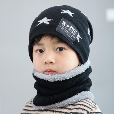 Children s winter wool hat bib suit tide Korean version thick warm knit hat  DER-1 Children s winter wool hat bib suit tide Korean version thick warm  knit ... e894a5d9d0f5