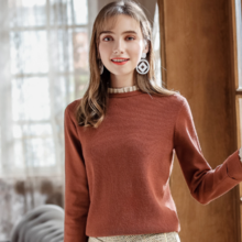 2018 autumn and winter new fashion women's stand collar wild warm bottoming sweater 79072