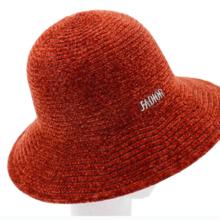 韩版秋冬保暖帽子休闲时尚加厚灯芯绒纯色字母渔夫帽女可折叠盆帽