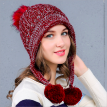 Korean tide cute ladies plus velvet knit hat ladies earmuffs wool hat hat
