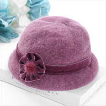 Middle-aged and old lady rabbit fur hat autumn and winter mother hat warm hat middle-aged female pot hat wool hat old knit hat