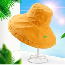 Korean version of the curling edge of the women's sun visor spring, summer and autumn new folding fisherman hat wild peach skin cap