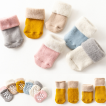 Autumn and winter plus velvet thick baby socks 3 feet