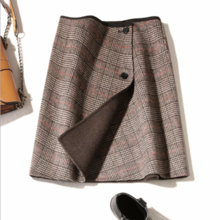 ZOJ精品双面呢短裙子2018新款手工格子羊毛呢半身裙女装
