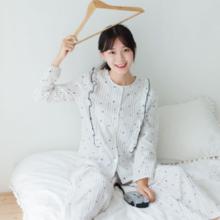 Women's cotton double gauze pajamas new long sleeve suit