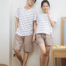 Spring and summer new cotton double gauze couple men and women sleep pants